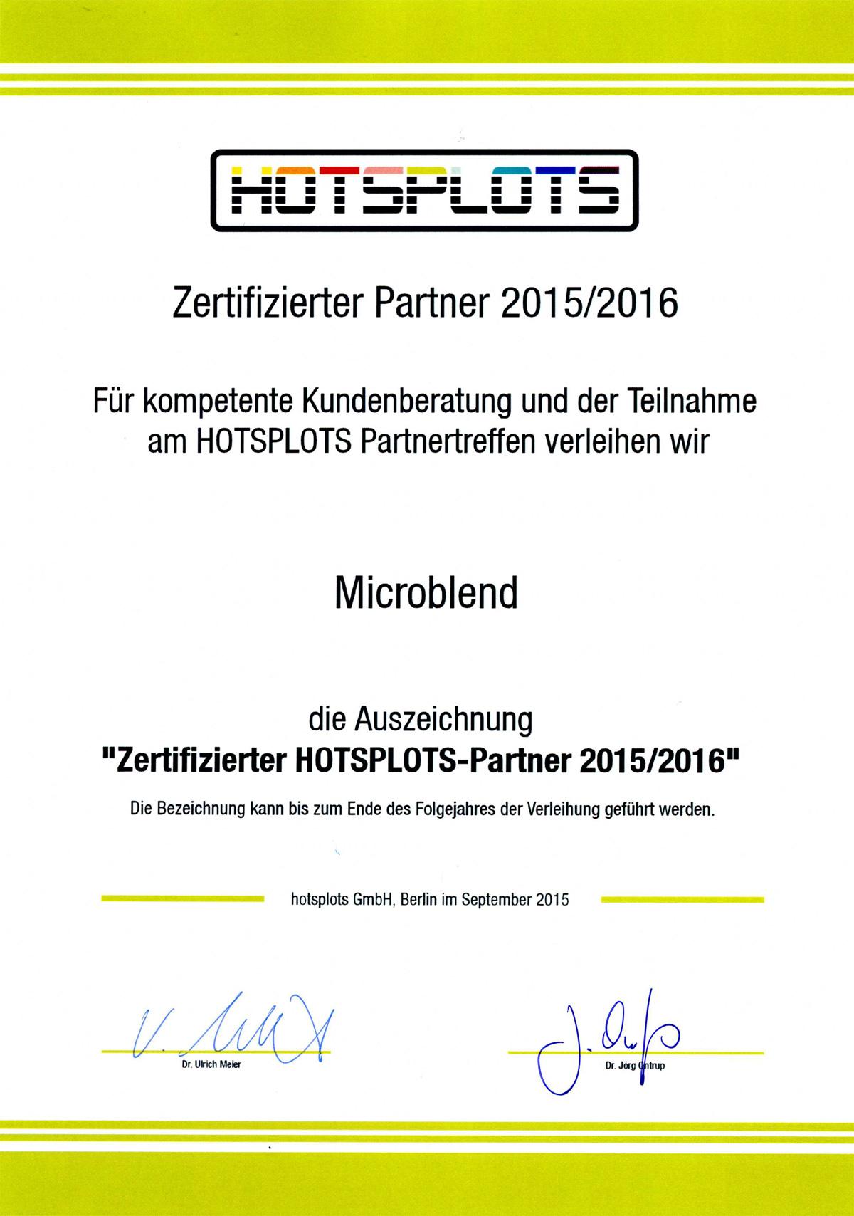 Ausgezeichnet: Hotsplots Zertifizierung