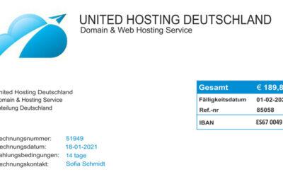 Fake Rechnungen von United Hosting Deutschland